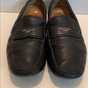 PRADA Men's  Black Leather Slip On Logo Loafer 9